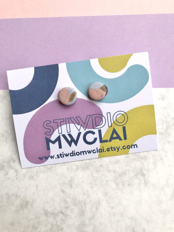 pink blue and gold earrings