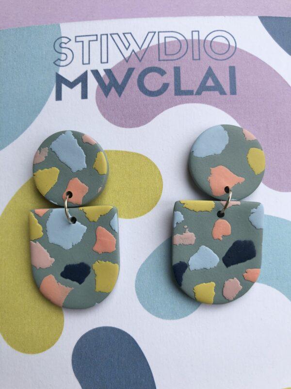 teal terrazzo earrings